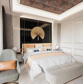 Luxe slaapkamerontwerp met fauteuil