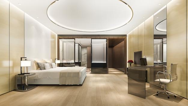 Luxe slaapkamersuite in hotel met bureautafel bij badkamer en rond plafond