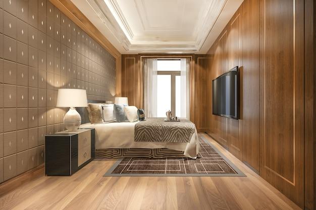 Luxe slaapkamersuite in hotel met tv en werktafel