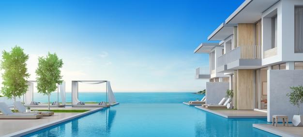 Luxe strandhuis met zeezicht zwembad en terras in modern design.