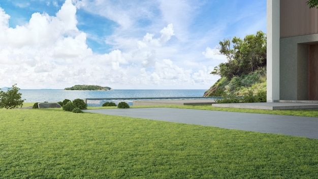 Luxe strandhuis met zwembad met zeezicht en grote tuin in modern design