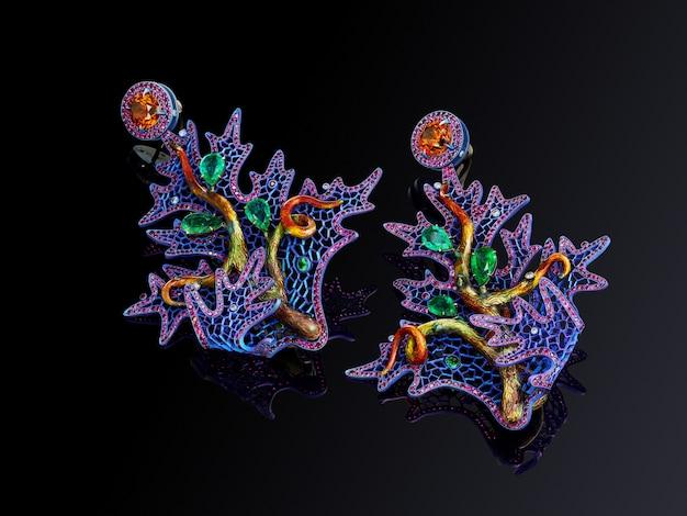 Luxe titanium oorbellen met citrien smaragden robijnen en diamanten geïsoleerd op zwarte achtergrond met reflectie, inbegrepen uitknippad. extreem dichtbij.