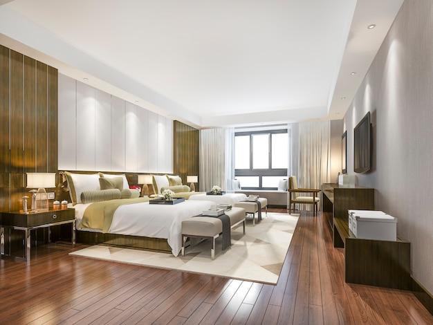 Luxe tropische slaapkamersuite in resorthotel en resort met twee eenpersoonsbedden