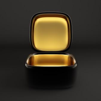 Luxe vakantie cadeauverpakking. de doos is van binnen goud en van buiten donker. 3d-afbeelding, 3d-rendering.