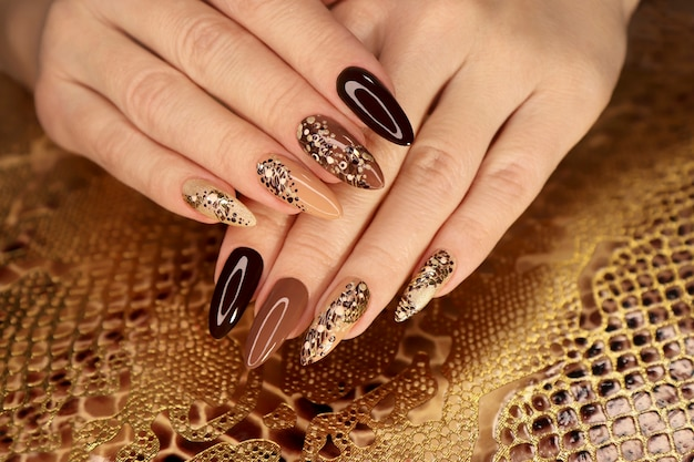 Luxe veelkleurige beige bruine manicure met dierenmotief op lange nagels.