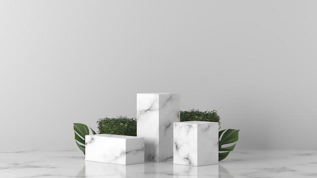 Luxe witte marmeren cilinder met bladeren op de achtergrond
