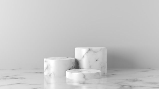 Luxe witte marmeren cilinder podium op witte achtergrond.
