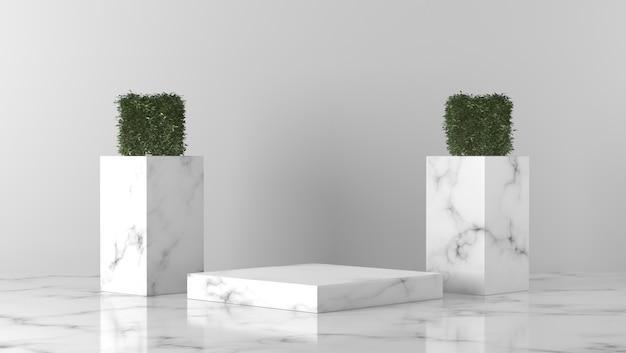 Luxe witte marmeren doos showcase podium en bladeren voor productplaatsing