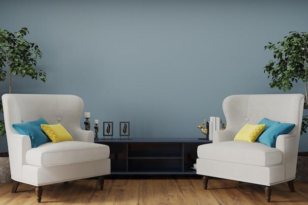 Luxe woonkamer met klassieke fauteuil voor de blauwe muur