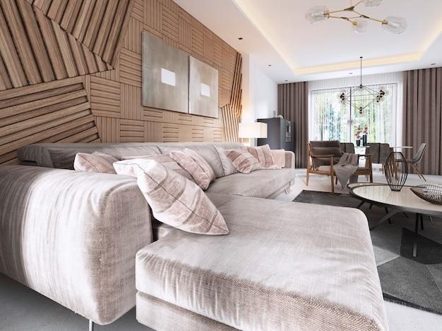 Luxe zachte bank in de woonkamer moderne stijl met een tafel en een lamp. 3d-weergave.