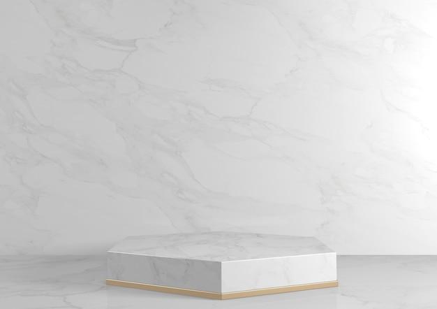 Luxe zeshoekig podium wit graniet voor geometrisch cosmetisch product. 3d-weergave