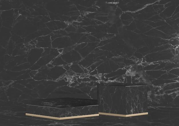 Luxe zeshoekig podium zwart graniet voor show cosmetisch product geometrisch op witte achtergrond. 3d-weergave