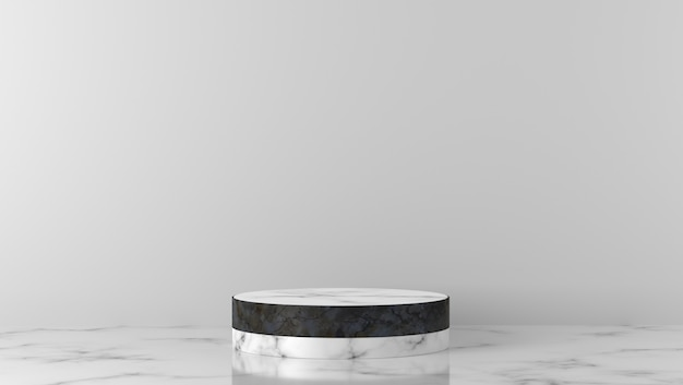 Luxe zwart-wit marmeren cilinderpodium op witte achtergrond.