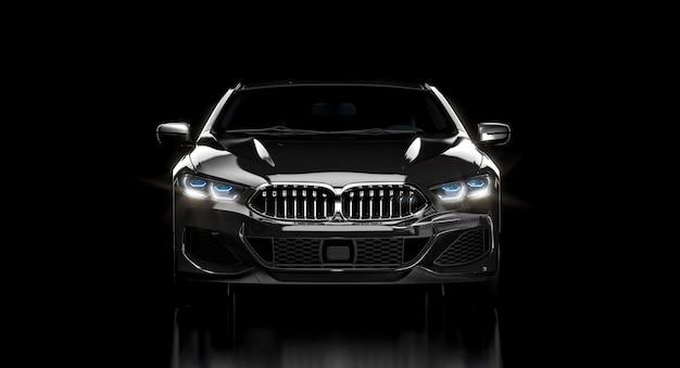 Luxe zwarte auto op donkere achtergrond. 3d render. niemand in de buurt