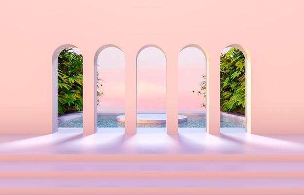 Luxescène met geometrische vormen, boog met podium