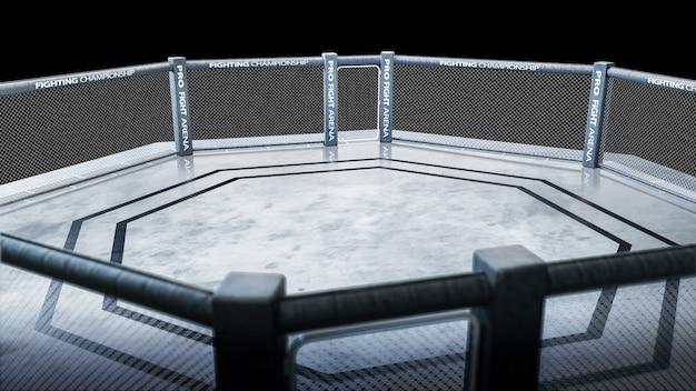 Maa achthoek bovenaanzicht. vechtkampioenschap. geïsoleerde mma-achthoek. 3d-weergave. sport