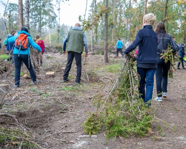 Maak oude boomtak in bos met vrijwilligershulp schoon