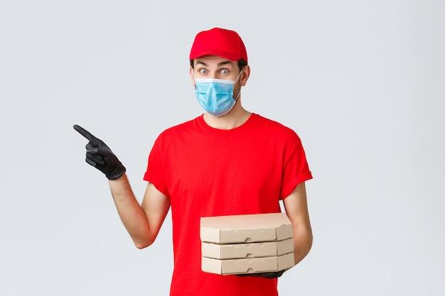 Maaltijdbezorging, aanvraag, online boodschappen, contactloos winkelen en covid-19-concept.