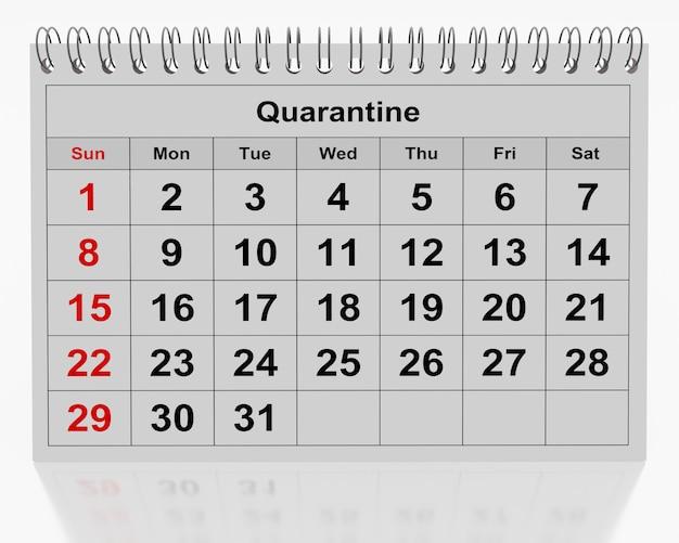 Maandkalender met het woord quarantaine