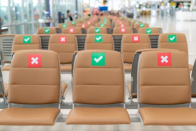 Maatschappelijke afstandszetels op de luchthaven