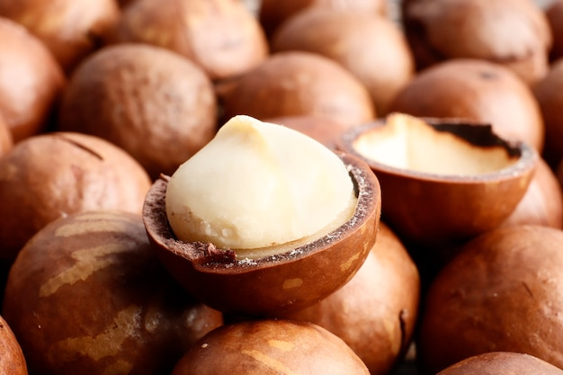 Macadamia noten close-up