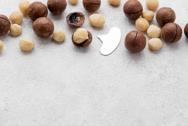 Macadamia-noten en chocolade
