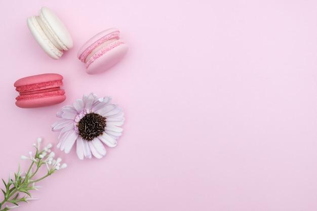 Macarons op roze achtergrond, mooi dessert
