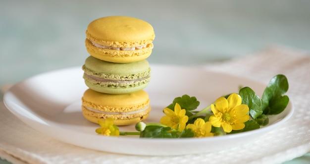 Macarons porseleinen plaat met mooie bloem op blauwe houten tafel