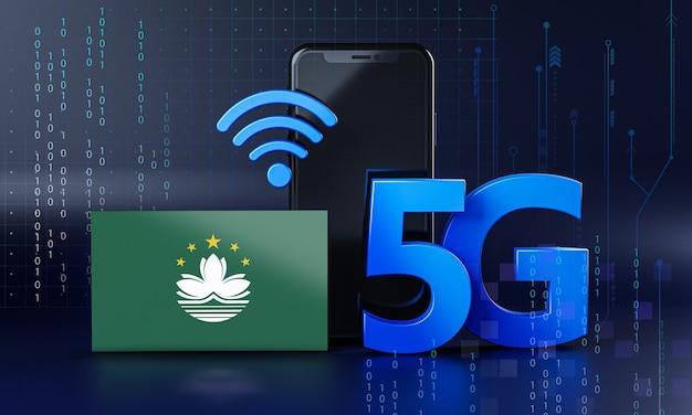 Macau klaar voor 5g-verbindingsconcept. 3d-rendering smartphone technische achtergrond