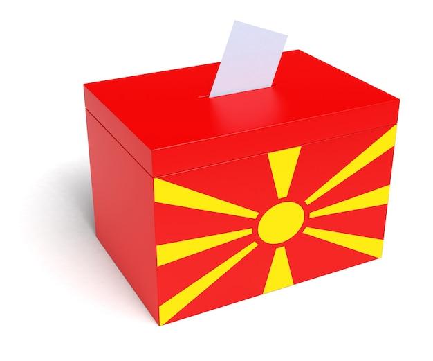 Macedonië stembus met macedonische vlag. geïsoleerd op een witte achtergrond.