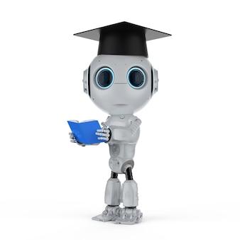 Machine learning concept met 3d-rendering robot draagt afstudeerpet