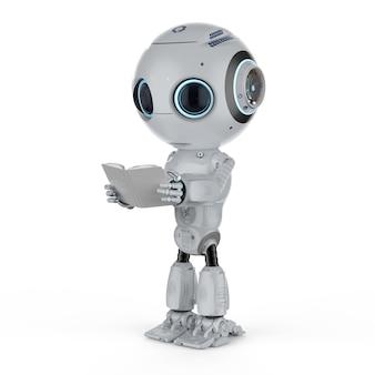 Machine learning concept met 3d-rendering schattige kunstmatige intelligentie robot leest boek