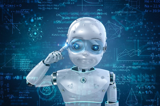 Machine learning concept met 3d rendering schattige robot of kunstmatige intelligentie robot met onderwijs grafische interface