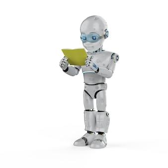 Machine learning concept met 3d-rendering vriendelijke robot die een boek leest