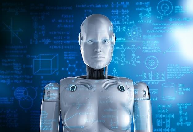 Machine learning concept met 3d-rendering vrouwelijke cyborg lost wiskundig probleem op