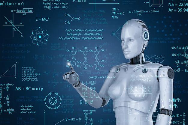 Machine learning concept met 3d-rendering vrouwelijke cyborg of robot met wiskundige formule
