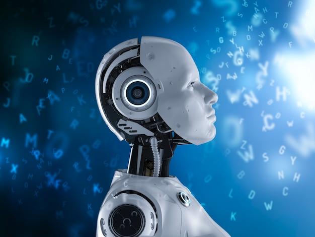 Machine learning concept met 3d-rendering vrouwelijke robot leren of machine learning met alfabetten