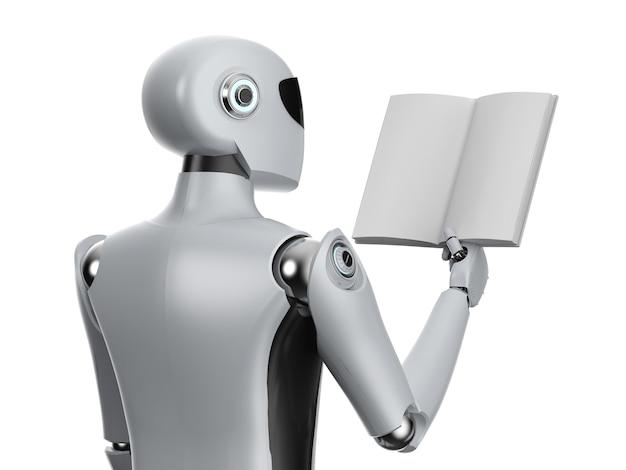 Machine learning-concept met robot en stapel boeken