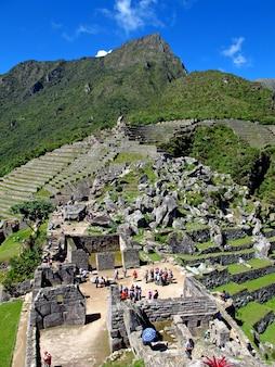 Machu picchu is de hoofdstad van het inca-rijk in het andesgebergte, peru, zuid-amerika