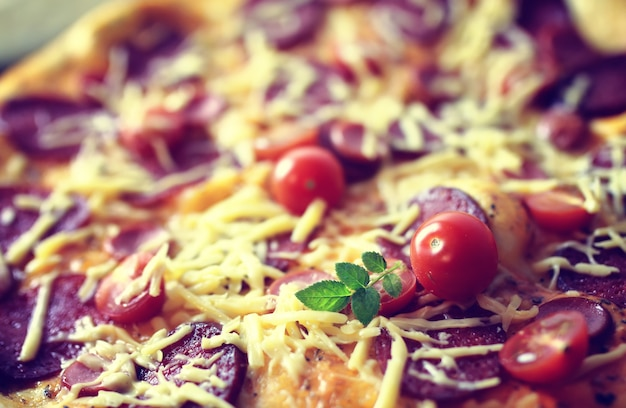 Macro gebakken pizza toppings