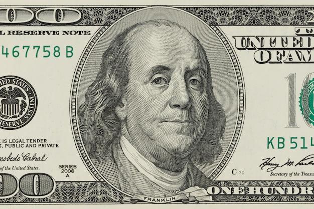 Macro-opname van een 100 dollar
