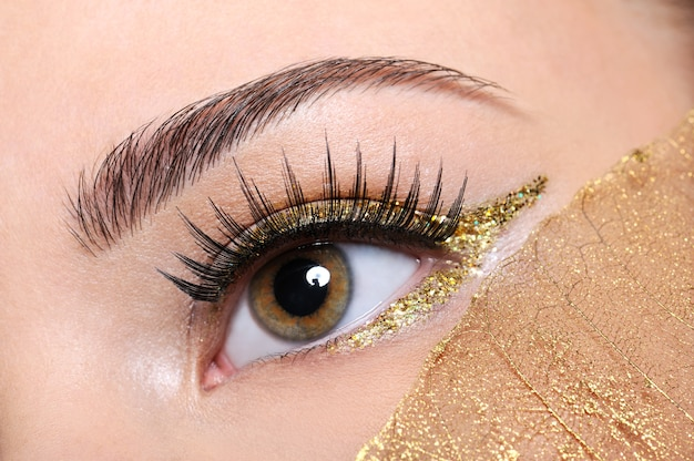 Macro-opname van een vrouw oog met valse wimpers en gele, gouden make-up