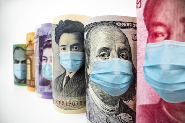 Macro-opname van internationale valutageld omvat amerikaanse amerikaanse dollar