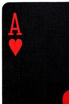 Macro van de zwarte letter van de aas van harten