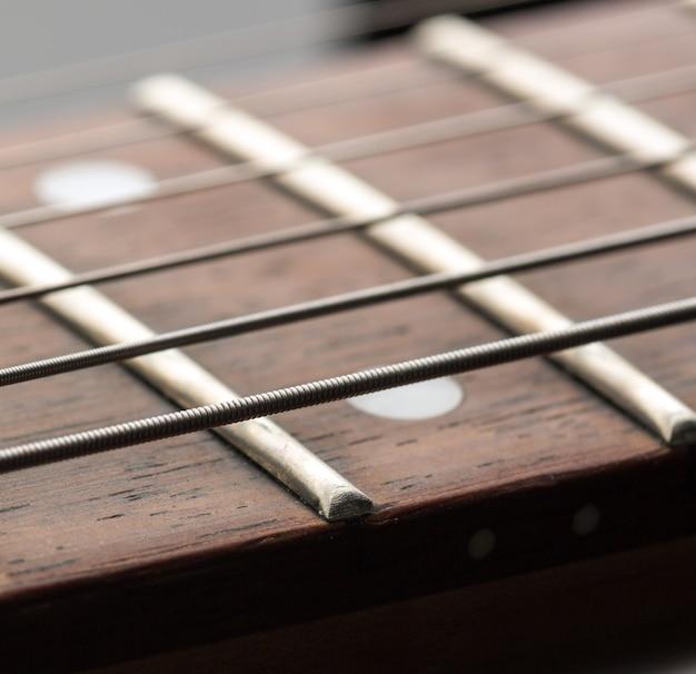 Macro van snaren op elektrische gitaar
