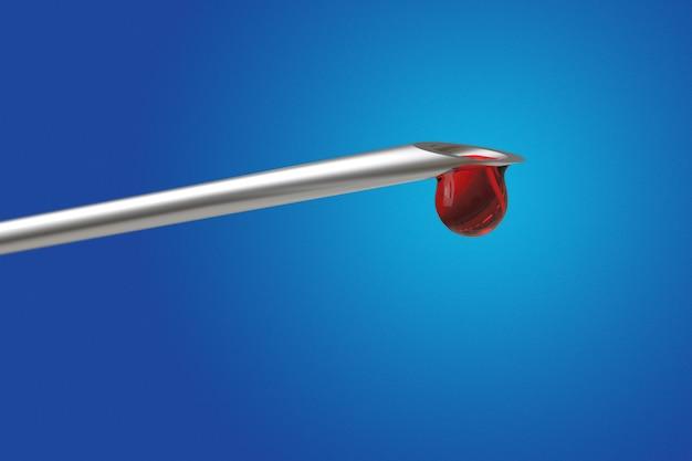 Macro weergave van druppel bloed uit naald spuit op blauwe achtergrond. uitknippad. 3d render illustratie