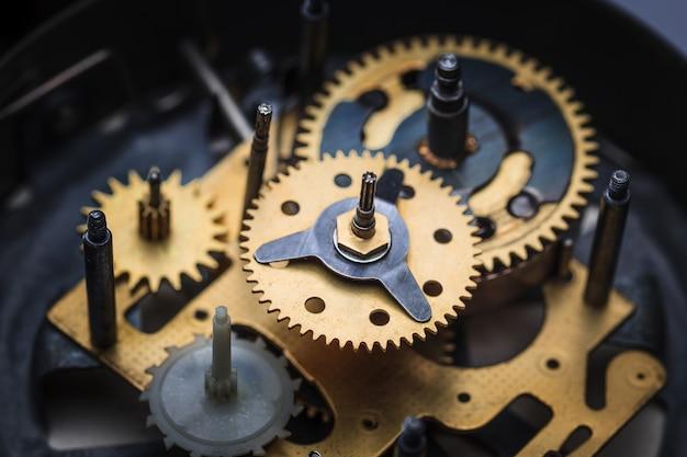 Macro weergave van klokmechanisme