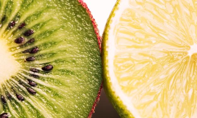 Macrosinaasappel en kiwitextuur