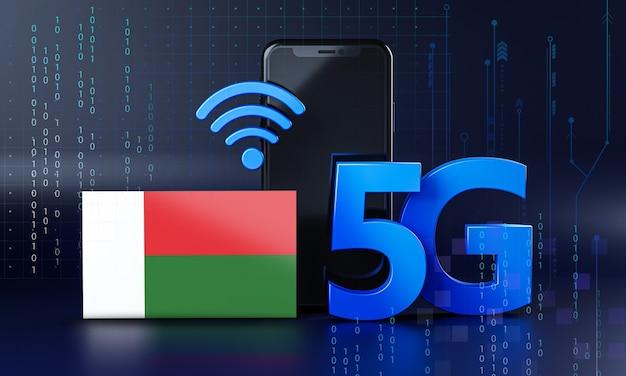 Madagaskar klaar voor 5g-verbindingsconcept. 3d-rendering smartphone technische achtergrond