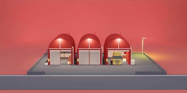 Magazijn logistiek modern magazijn cartoon winkel 3d illustratie